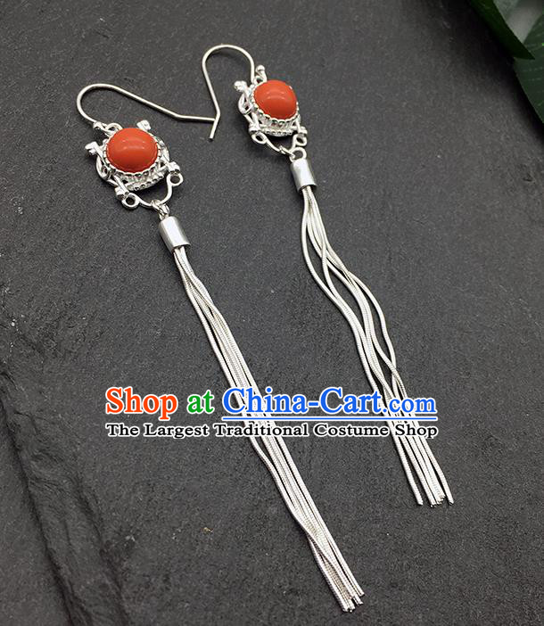 Chinese Traditional Tibetan Ethnic Coral Stone Sliver Long Tassel Ear Accessories Zang Nationality Earrings for Women