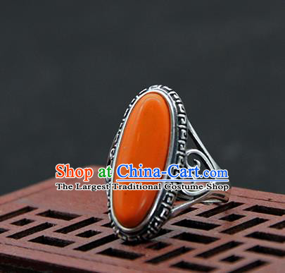 Chinese Traditional Ethnic Coral Stone Rings Handmade Tibetan Nationality Sliver Finger Ring for Women