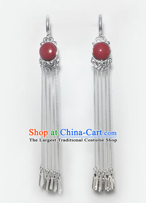 Chinese Traditional Mongolian Ethnic Accessories Mongol Nationality Red Sliver Tassel Earrings for Women