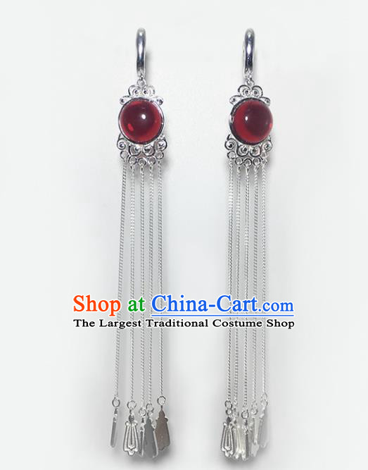 Chinese Traditional Mongolian Ethnic Accessories Mongol Nationality Garnet Sliver Tassel Earrings for Women