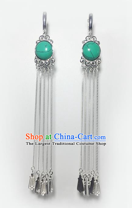 Chinese Traditional Mongolian Ethnic Accessories Mongol Nationality Kallaite Sliver Tassel Earrings for Women