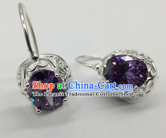 Chinese Traditional Mongolian Ethnic Accessories Mongol Nationality Purple Crystal Earrings for Women