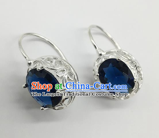 Chinese Traditional Mongolian Ethnic Accessories Mongol Nationality Royalblue Crystal Earrings for Women