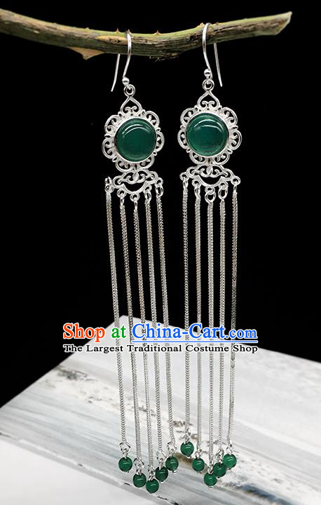 Traditional Chinese Mongolian Ethnic Green Agate Earring Mongol Nationality Sliver Tassel Ear Accessories for Women