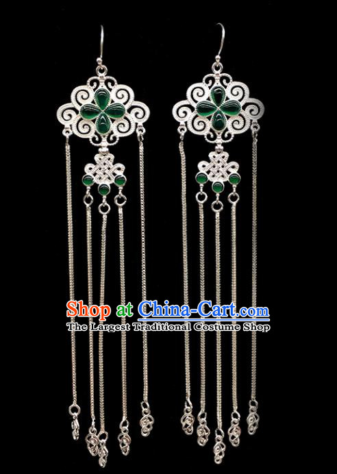 Traditional Chinese Mongolian Ethnic Sliver Tassel Earring Mongol Nationality Green Agate Ear Accessories for Women