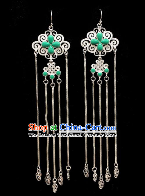 Traditional Chinese Mongolian Ethnic Sliver Tassel Earring Mongol Nationality Green Ear Accessories for Women