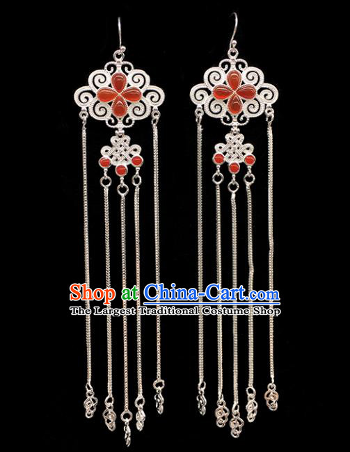 Traditional Chinese Mongolian Ethnic Sliver Tassel Earring Mongol Nationality Agate Ear Accessories for Women