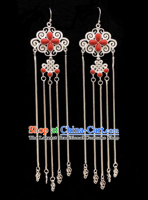 Traditional Chinese Mongolian Ethnic Sliver Tassel Earring Mongol Nationality Red Ear Accessories for Women