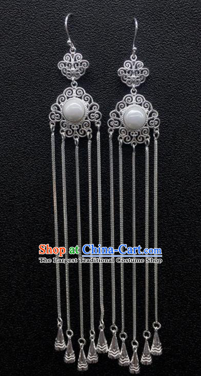 Traditional Chinese Mongolian Ethnic Sliver Tassel Earring Mongol Nationality Pearl Ear Accessories for Women