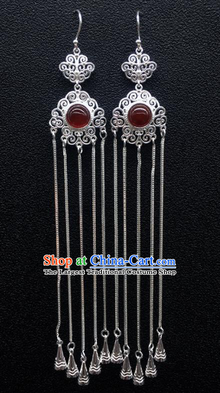 Traditional Chinese Mongolian Ethnic Sliver Tassel Earring Mongol Nationality Garnet Ear Accessories for Women