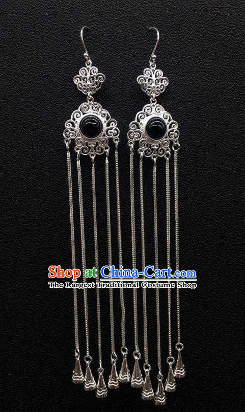 Traditional Chinese Mongolian Ethnic Sliver Tassel Earring Mongol Nationality Black Stone Ear Accessories for Women