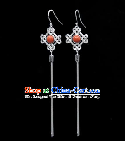 Traditional Chinese Mongolian Ethnic Coral Stone Earring Mongol Nationality Sliver Ear Accessories for Women