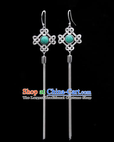 Traditional Chinese Mongolian Ethnic Green Stone Earring Mongol Nationality Sliver Ear Accessories for Women