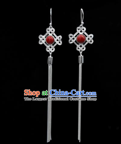 Traditional Chinese Mongolian Ethnic Red Stone Earring Mongol Nationality Sliver Ear Accessories for Women
