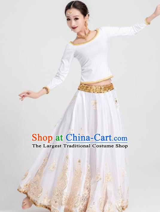 Asian India Traditional Costumes South Asia Indian Bollywood Belly Dance White Dress for Women
