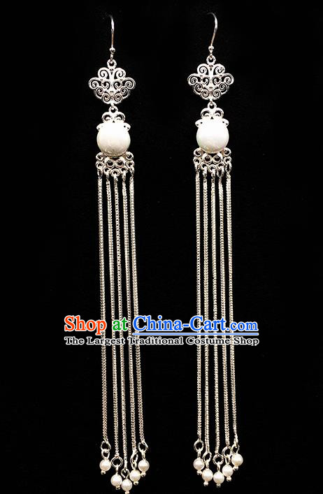 Traditional Chinese Mongolian Ethnic Long Tassel Earring Mongol Nationality White Bead Ear Accessories for Women