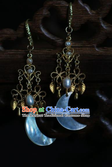 Traditional Chinese Hanfu Accessories Ancient Princess Shell Moon Earrings for Women