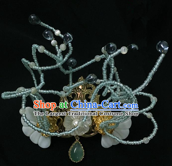 Traditional Chinese Hanfu Green Agate Hair Crown Hair Accessories Ancient Imperial Consort Hairpins for Women