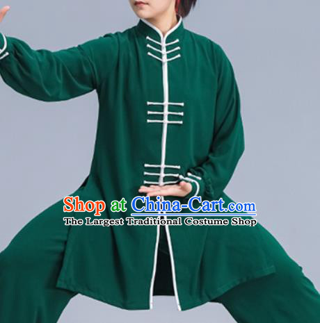 Asian Chinese Martial Arts Wushu Costume Traditional Tai Ji Kung Fu Training Green Uniform for Women