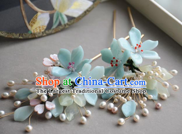 Traditional Chinese Hanfu Green Peach Blossom Hair Clip Hair Accessories Ancient Princess Hairpins for Women