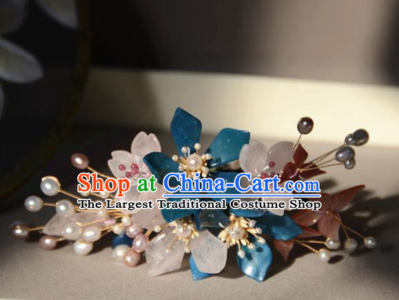 Traditional Chinese Hanfu Blue Peach Blossom Hair Clip Hair Accessories Ancient Princess Hairpins for Women
