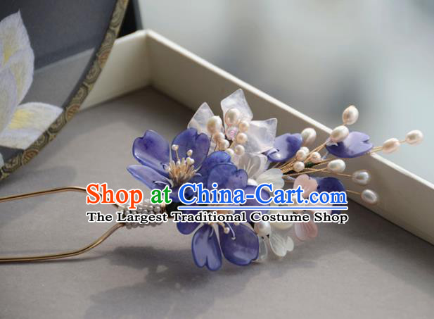 Traditional Chinese Hanfu Purple Peach Blossom Hair Clip Hair Accessories Ancient Princess Hairpins for Women
