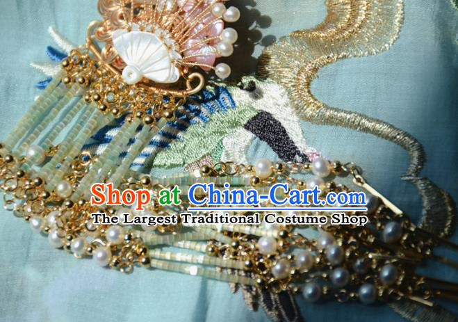 Traditional Chinese Hanfu Shell Tassel Hair Claw Hair Accessories Ancient Princess Hairpins for Women