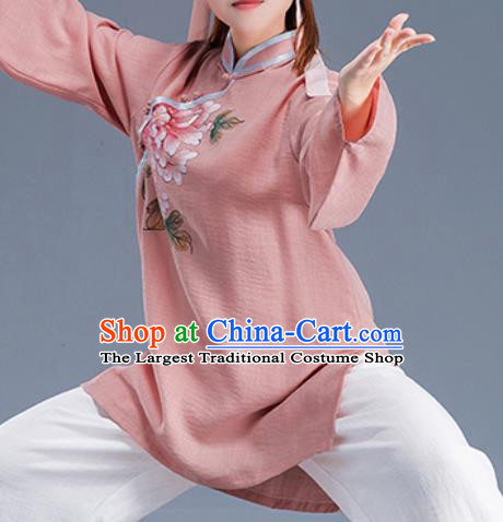 Asian Chinese Traditional Martial Arts Costume Tai Ji Kung Fu Training Pink Uniform for Women