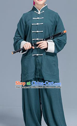 Asian Chinese Traditional Martial Arts Green Linen Costume Tai Ji Kung Fu Training Uniform for Women