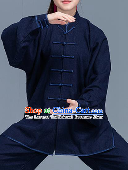 Asian Chinese Traditional Martial Arts Costume Tai Ji Kung Fu Training Navy Uniform for Women