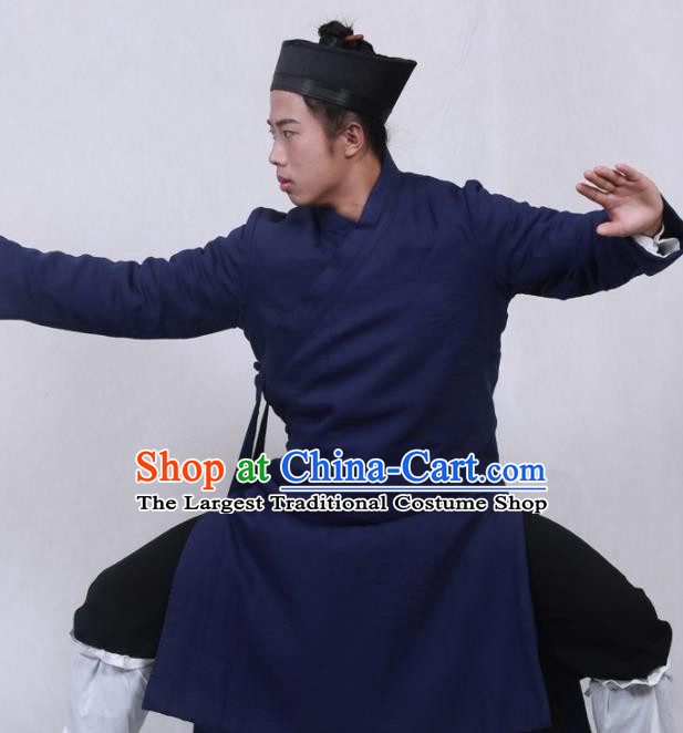 Asian Chinese Traditional Martial Arts Kung Fu Costume Tai Ji Taoist Priest Navy Robe for Men