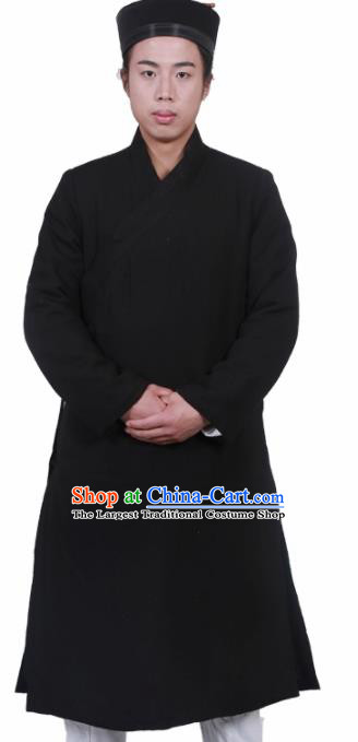 Asian Chinese Traditional Martial Arts Kung Fu Costume Tai Ji Taoist Priest Black Robe for Men