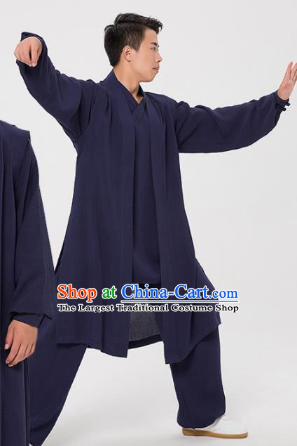 Asian Chinese Traditional Martial Arts Kung Fu Costume Tai Ji Navy Clothing for Men