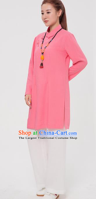 Asian Chinese Martial Arts Traditional Kung Fu Costume Tai Ji Training Pink Blouse for Women
