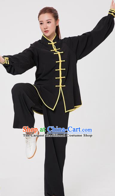 Asian Chinese Martial Arts Traditional Kung Fu Costume Tai Ji Training Black Uniform for Women