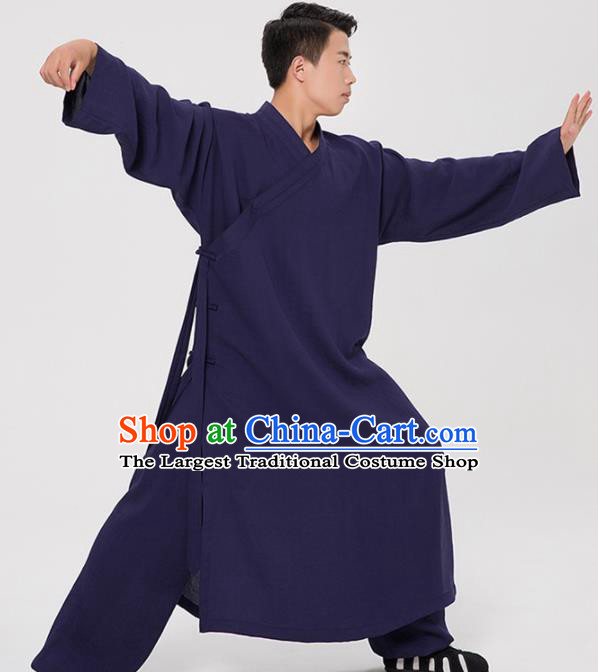Asian Chinese Traditional Martial Arts Kung Fu Costume Tang Suit Tai Ji Navy Robe for Men