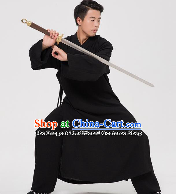 Asian Chinese Traditional Martial Arts Kung Fu Costume Tang Suit Tai Ji Black Robe for Men