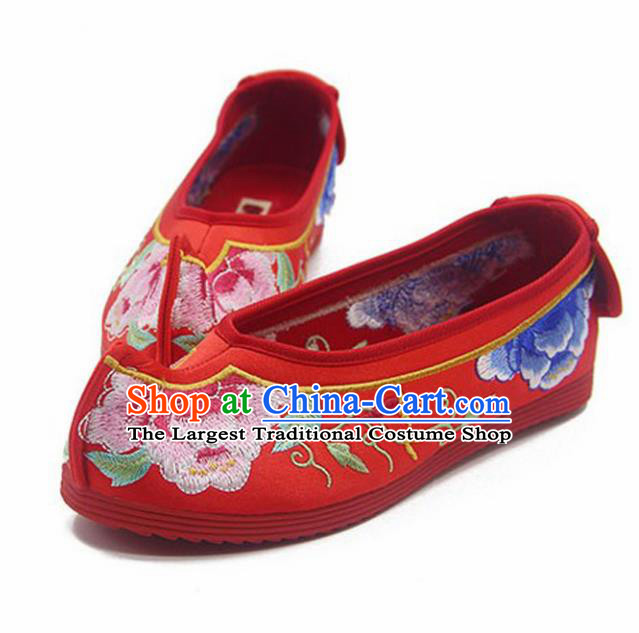 Chinese Ancient Princess Shoes Traditional Wedding Red Cloth Shoes Hanfu Shoes Embroidered Shoes for Women