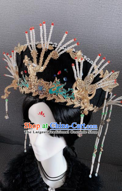Traditional Chinese Ancient Palace Queen Phoenix Coronet Headwear Qing Dynasty Manchu Hair Accessories for Women