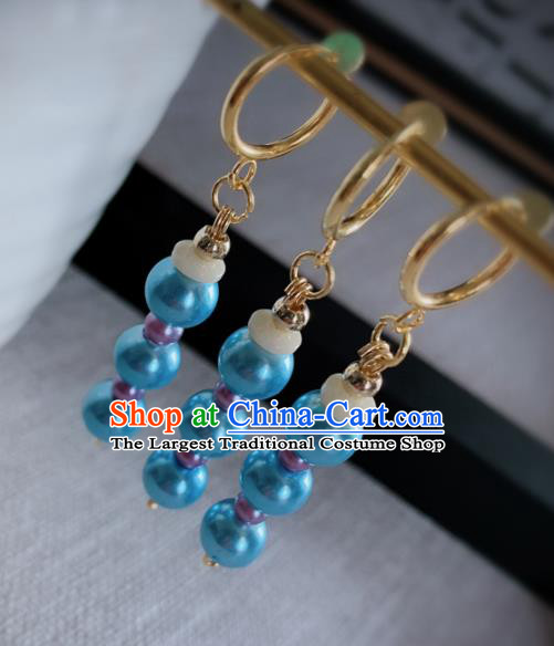 Chinese Traditional Ancient Qing Dynasty Manchu Lady Blue Beads Earrings for Women