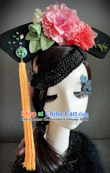 Traditional Chinese Qing Dynasty Manchu Lady Headwear Ancient Palace Queen Hair Accessories for Women