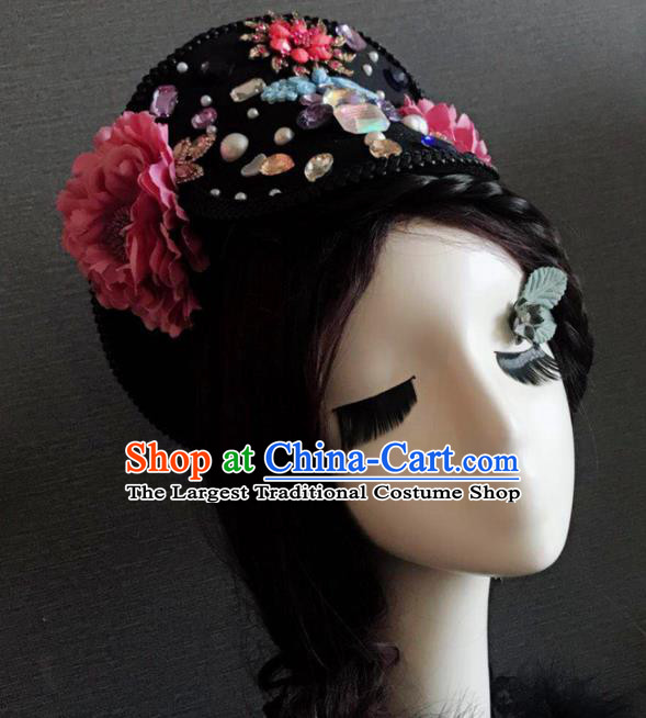 Traditional Chinese Qing Dynasty Manchu Imperial Consort Headwear Ancient Palace Queen Hair Accessories for Women
