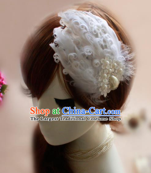 Top Grade Stage Performance White Feather Hair Accessories Bride Hair Stick Headwear for Women
