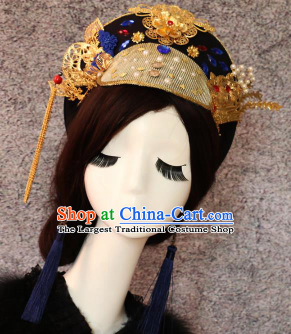 Traditional Chinese Qing Dynasty Imperial Consort Headwear Ancient Palace Manchu Queen Hair Accessories for Women
