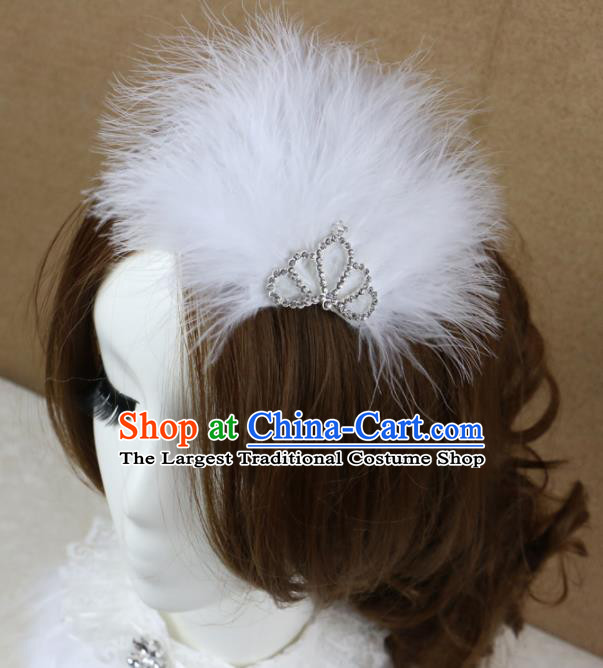 Top Grade Princess White Feather Hair Accessories Gothic Bride Hair Stick Headwear for Women