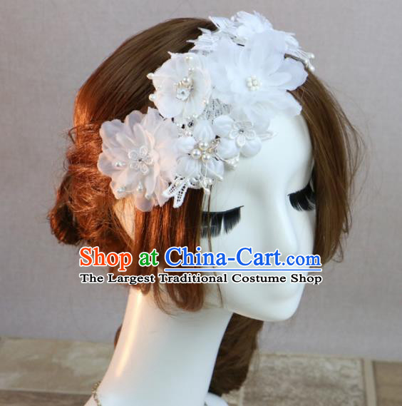 Top Grade Princess White Flowers Hair Accessories Bride Stage Performance Hair Stick Headwear for Women