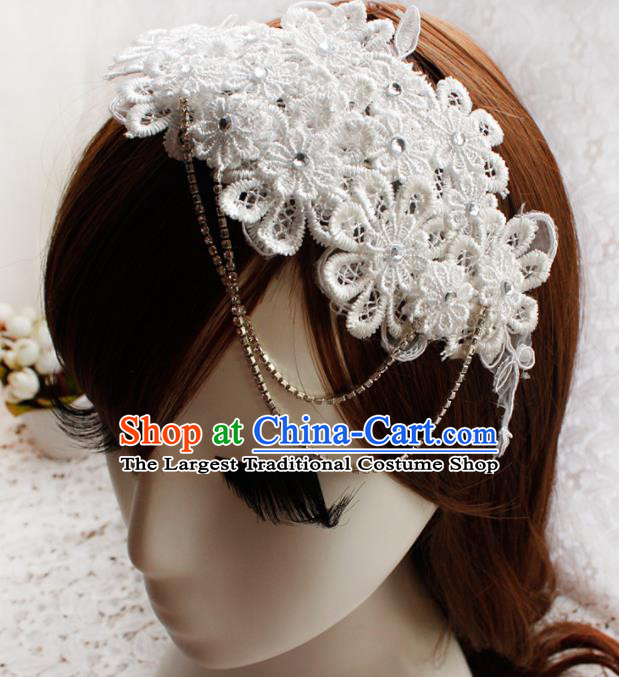 Top Grade Princess White Lace Hair Accessories Bride Hair Stick Headwear for Women