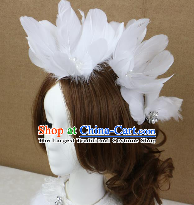 Top Grade Princess White Feather Hair Accessories Bride Hair Stick Headwear for Women