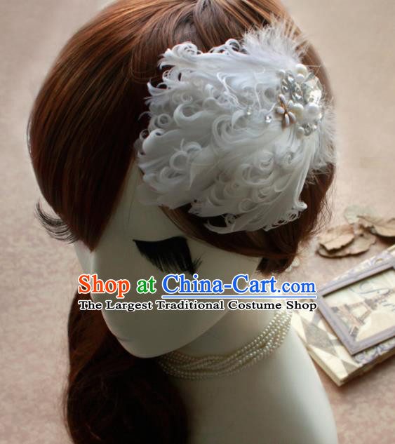 Top Grade Princess White Feather Crystal Hair Accessories Bride Hair Stick Headwear for Women