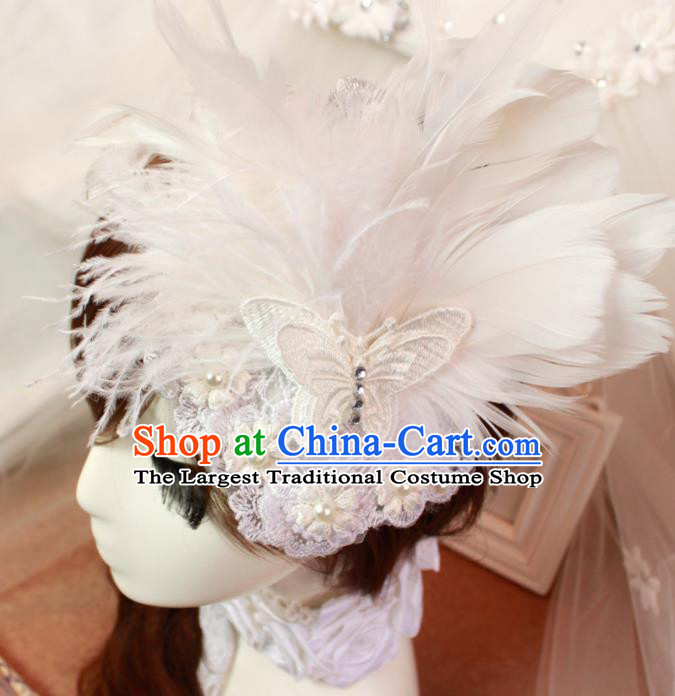 Top Grade Princess White Feather Butterfly Hair Accessories Bride Hair Stick Headwear for Women
